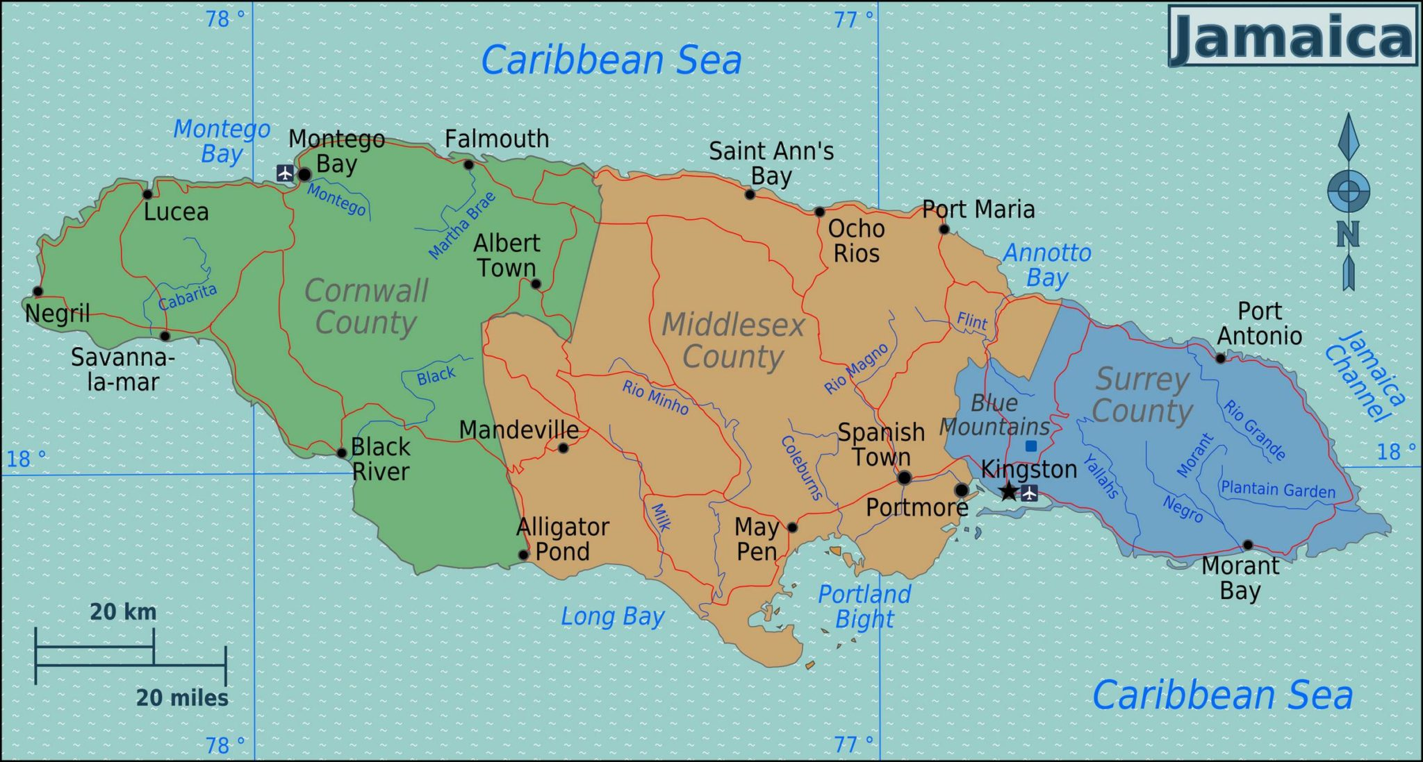 Karte Jamaika